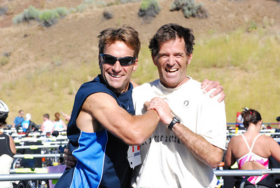 USSA employee Jesse Hunt and former USSA employee Dale Schoon celebrate after  competing in the 10th Annual Jordanelle Triathlon Saturday, August 23, 2008 at the Jordanelle State Park in Park City, Utah. Distances were: swim - 1.5 km swim; bike - 40 km; run - 5.6 miles.
