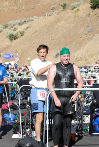 USSA employees Jess Hunt and Troy Flanagan compete in the 10th Annual Jordanelle Triathlon Saturday, August 23, 2008 at the Jordanelle State Park in Park City, Utah. Distances were: swim - 1.5 km swim; bike - 40 km; run - 5.6 miles.