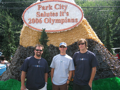 Park City saluted teh 2006 Olympians with a grand float (l to r ) Monte Meier, Steve Cook and Torin Koos.