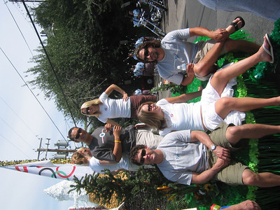 Park City saluted teh 2006 Olympians with a grand float (l to r front row) Scott Macartney, Lindsey Kildow, Erik Schlopy (l to r back row) Graham Watanabe and Shannon Bahrke.