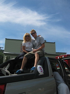 Park City's hometown heros Stephani Victor and Ted Ligety, 2006 gold medalists, were the Co-Grand Marshals for the Park Cith July 4th parade.