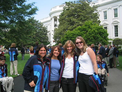 PGS racer Michelle Gorgone (Sudbury, MA), halfpipe riders Elena Hight (Zephyr Cove, NV) and 2006 silver medalist Gretchen Bleiler (Aspen, CO), and alpine skiing racer Lindsey Kildow (Vail, CO) on the South Lawn of the White House (May 17, 2006)