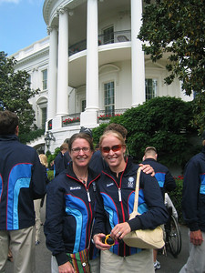 Utah's Wendy Wagner and Colorado's Rebecca Dussault on the South Lawn of the White House (May 17, 2006)