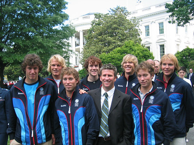 Members of the 2006 Olympic Nordic Combined & Ski Jumping Teams on the South Lawn of the White House (May 17, 2006). L to R Anders Johnson, Tommy Schwall, Eric Camerota, Jimmy Denney, Dave Jarrett, Todd Lodwick, Brett Camerota and Bill Demong.