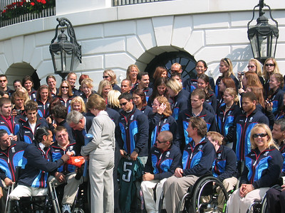 President Bush and Mrs. Bush meeting members of the 2006 Olympic and Paralympic Team (May 17, 2006).