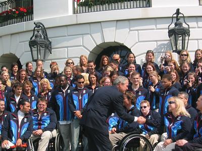 President Bush congratulates Paralympic gold medalist Stephani Victor (Park City, UT) on May 17, 2006