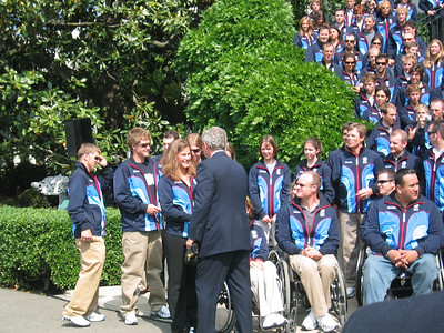 Jackson Hole's Resi Stiegler asks the President to sign her 2006 Roots Team jacket (May 17, 2006)
