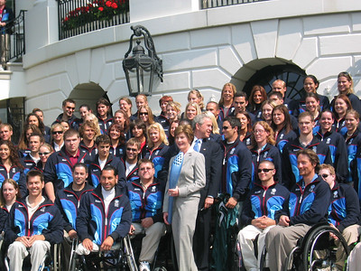 President Bush and Mrs. Bush with members of the 2006 Olympic and Paralympic Team (May 17, 2006).