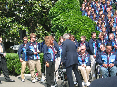 First time Olympian Resi Stiegler (Jackson Hole, WY) waits to meet the President (May 17, 2006)