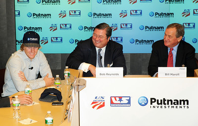 Partnership announcement press conference with Putnam Investments and the U.S. Ski Team and U.S. Snowboarding at Putnam's headquarters in Boston. (l-4) Ted Ligety, Bob Reynolds, Bill Marolt. (c) 2010 USSA