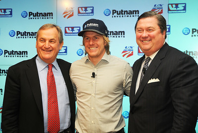 Partnership announcement press conference with Putnam Investments and the U.S. Ski Team and U.S. Snowboarding at Putnam's headquarters in Boston. (l-r) Bill Marolt, Ted Ligety, Bob Reynolds. (c) 2010 USSA