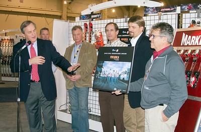 Volkl, Marker, Tecnica receive the Doc DesRoches Award at SIA.08 SnowSports Trade Show, Las Vegas. Photo: Tom Kelly/USSA