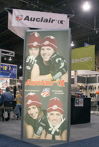 U.S. Ski Team supplier Auclair displays the Team logo at SIA.08 SnowSports Trade Show, Las Vegas. Photo: Tom Kelly/USSA