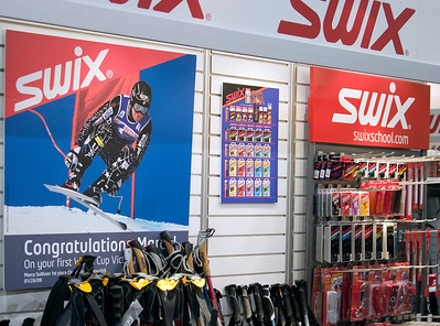 Swix displays U.S. Ski Team logo at SIA.08 SnowSports Trade Show, Las Vegas. Photo: Tom Kelly/USSA