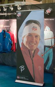 U.S. Ski Team supplier BJ Sport displays the Team logo and athlete Kris Freeman at SIA.08 SnowSports Trade Show, Las Vegas. Photo: Tom Kelly/USSA