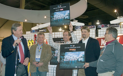 Volkl-Marker-Tecnica are presented with the Doc DesRoches Award at SIA.08 SnowSports Trade Show, Las Vegas. Photo: Tom Kelly/USSA