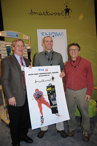 U.S. Ski Team President Bill Marolt (left) and SIA President David Ingemie (right) present the 2009 Doc DesRoches Award to SmartWool's Vice President of Sales Mark Satkiewicz at the SIA.09 Snowsports Trade Show in Las Vegas. (U.S. Ski Team/Tom Kelly)