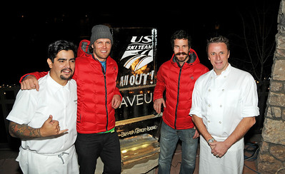 Chefs pose with atheltes at Savor the Slopes, presented by Saveur Magazine for the U.S. Ski Team, during the Audi Birds of Prey World Cup in Beaver Creek Colorado. Pictured, from left, are Chef Aaron Sanchez, Steven Nyman, TJ Lanning and Chef Marc Murphy. Photo: Tom Kelly/U.S. Ski Team