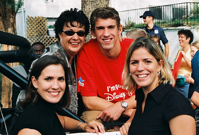 Phelps Family - ( l to r) Hilary Phelps, Debbie Phelps, Michael Phelps and Whitney Phelps.