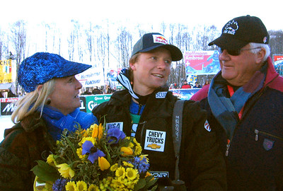 Thre-time Olympian and World Championships medalist Daron Rahlves with his parents Sally & Dennis at the Kitzbuehel downhill, the Super Bowl of ski racing (January 2004)