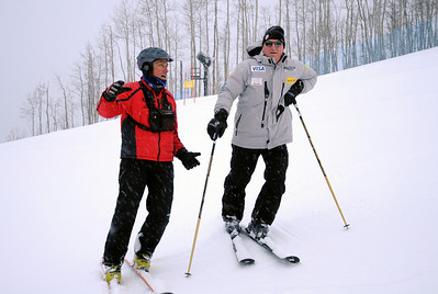 Ski and Snowboard Club Vail Director Aldo Radamus (left) gives a tour to USSA President and CEO Bill Marolt during an early-morning training session with Ski and Snowboard Club Vail at Golden Peak. Photo: Tom Kelly/USSA