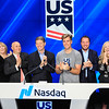Snowboardcross bronze medalist Alex Deibold and U.S. Ski & Snowboard President & CEO Tiger Shaw ring the Nasdaq closing bell in New York City.<br /> Photo © Kelsey Ayres / Nasdaq, Inc.