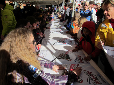 Sarah Schleper signs away in Winter Park (Doug Haney/U.S. Ski Team)