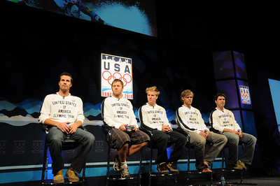 The U.S. Ski Team's men's alpine squad takes the stage as top Vancouver Bound Olympic hopefuls took part in the U.S. Olympic Committee's USOC Media Summit in Chicago. (c) 2009 USSA