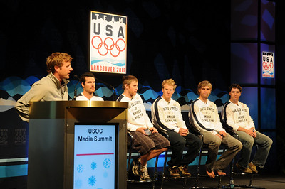 The U.S. Ski Team's men's alpine squad conducts a press conference as top Vancouver Bound Olympic hopefuls took part in the U.S. Olympic Committee's USOC Media Summit in Chicago. (c) 2009 USSA