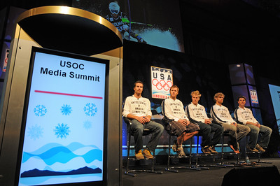 The U.S. Ski Team's mens alpine squad takes stage as top Vancouver Bound Olympic hopefuls took part in the U.S. Olympic Committee's USOC Media Summit in Chicago. (c) 2009 USSA