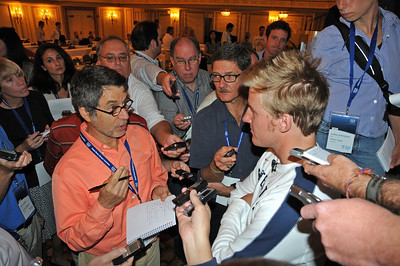 The U.S. Ski Team's Ted Ligety answers questions from media as top Vancouver Bound Olympic hopefuls took part in the U.S. Olympic Committee's USOC Media Summit in Chicago. (c) 2009 USSA