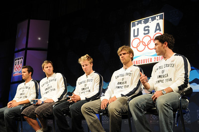 The U.S. SKi Team's men's alpine squad takes the stage for a press conference as top Vancouver Bound Olympic hopefuls took part in the U.S. Olympic Committee's USOC Media Summit in Chicago. (c) 2009 USSA