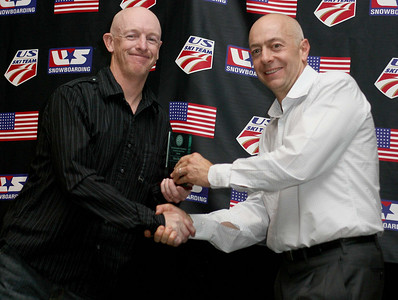 Dexter Paine presents Ben Boyd with the 2008 Snowboarding Domestic Coach of the Year Award. 2008 USSA Congress Awards Banquet Photo: Scott Sine