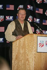 Bruce Crane speaks during the Doc Sos Memorial during the 2008 USSA Congress Awards Banquet. Photo: Scott Sine