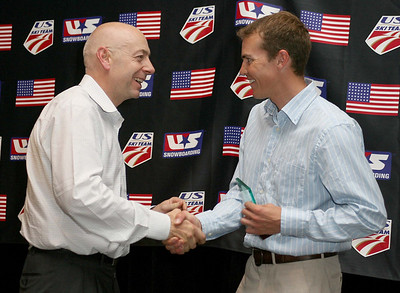 Dexter Paine presents Bill Demong with the 2008 Nordic Combined Athlete of the Year Award. 2008 USSA Congress Awards Banquet Photo: Scott Sine