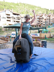 USSA marketing superstar Kim Volla testing the bull for safety (credit: Doug Haney/USSA)