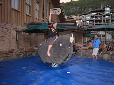 Heather McPhie, 2007 FIS Rookie of the Year for freestyle moguls, shows her bull riding skills (credit: Doug Haney/USSA)