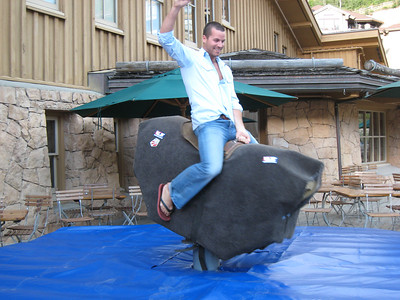 TJ Lanning of the men's alpine team getting another punch on his mechanical bull frequent visitor card (credit: Doug Haney/USSA)