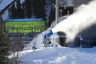 Snow guns are going full bore mid-day as the Utah Olympic Park preps for an early opening to pre-season training for the U.S. Ski Team. (c) 2011 USSA/Tom Kelly