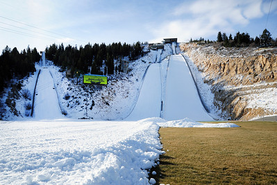 The nordic jumps are ready, including the Olympic K90 jump (center) which will open for the season Nov. 12 - first in the world. The Utah Olympic Park preps for an early opening to pre-season training for the U.S. Ski Team. (c) 2011 USSA/Tom Kelly