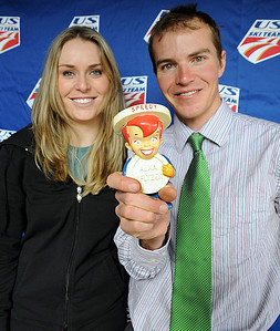 "Speey Alka Seltzer joins the ""Speedy Kids"" Lindsey Vonn and Billy Demong as USSA staff congratulate them on their World Championship seasons at a staff gathering at USSA headquarters in Park City,Utah."