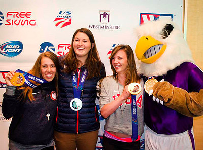 Westminster College celebrates its 23 Olympic student athletes May 14 at the college. Medalists show off their hardware mascot Griff the Griffin including Maddie Bowman, Devin Logan and Kaitlyn Farrington. (Westminster College)