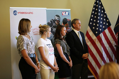 (l-r) Jen Hudak, Faye Gulini, Emily Cook, Bill Marolt An announcement is made at the Utah State Capitol that the Olympic governing body will bring some of its most important World Cup and Sprint U.S. Grand Prix events to Utah.  Photo: USSA