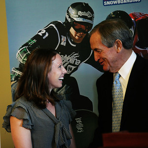 Emily Cook and Bill Marolt An announcement is made at the Utah State Capitol that the Olympic governing body will bring some of its most important World Cup and Sprint U.S. Grand Prix events to Utah.  Photo: USSA