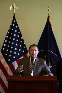 Utah Governor Gary R. Herbert makes an announcement at the Utah State Capitol that the Olympic governing body will bring some of its most important World Cup and Sprint U.S. Grand Prix events to Utah. Photo: USSA