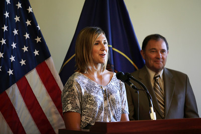 Jen Hudak and Utah Governor Gary R. Herbert An announcement is made at the Utah State Capitol that the Olympic governing body will bring some of its most important World Cup and Sprint U.S. Grand Prix events to Utah.  Photo: USSA