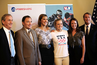 (L-R) U.S. Ski and Snowboard Association President and CEO Bill Marolt, Utah Governor Gary R. Herbert, halfpipe skiing athlete Jen Hudak, snowboardcross athlete Faye Gulini, aerialist Emily Cook and President and CEO of the Utah Sports Commission, Jeff Robbins made the joint announcement at the Utah State Capitol that the Olympic governing body will bring some of its most important World Cup and Sprint U.S. Grand Prix events to Utah.  Photo: USSA