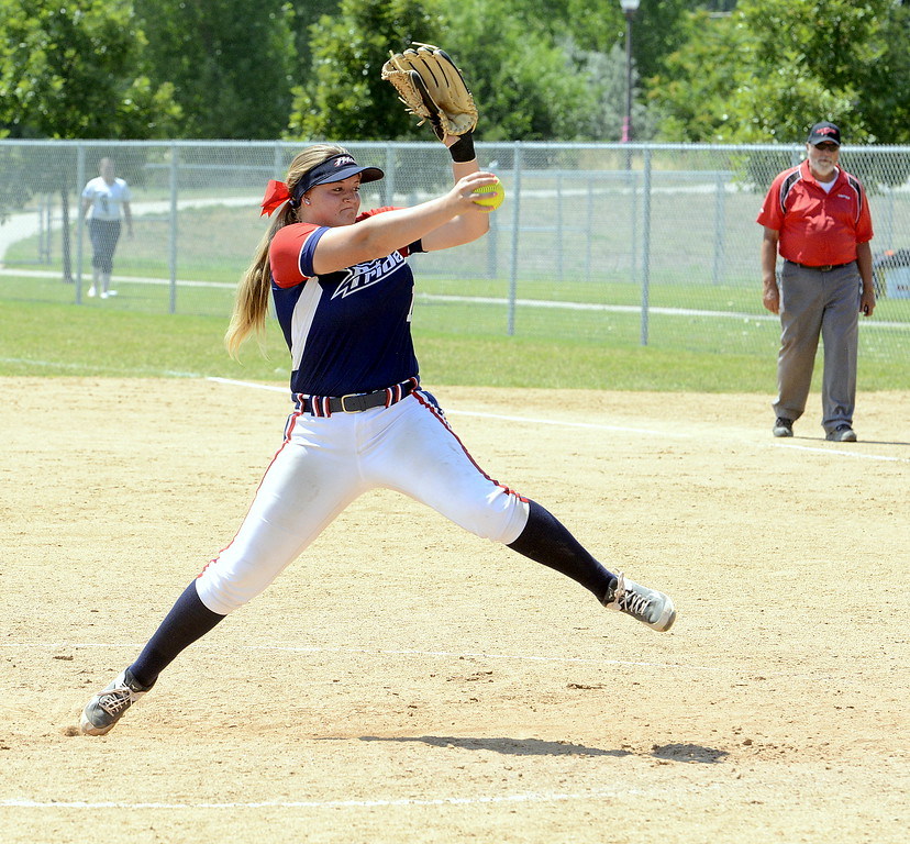 . Blaze Pride Elite pitcher Makaila Chadwick delievers to the plate in their game Saturday with Evolution at the USSSA Mountain States Championships at the Barnes complex. (Mike Brohard/Loveland Reporter-Herald)