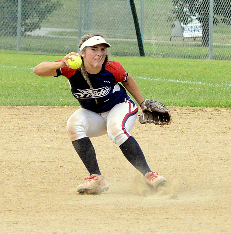 . Blaze Pride Elite second baseman Marlee Hebda stumbles after catching a pop-up in Saturday\'s game with Altitude at the USSSA Mountain States Championships at the Barnes complex. (Mike Brohard/Loveland Reporter-Herald)