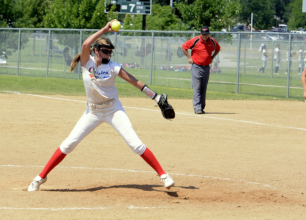 . Colorado Classics pitcher Katie McClaw makes her delivery to the plate in Saturday\'s game with Pride-Watts at the USSSA Mountain States Championships at the Barnes complex. (Mike Brohard/Loveland Reporter-Herald)